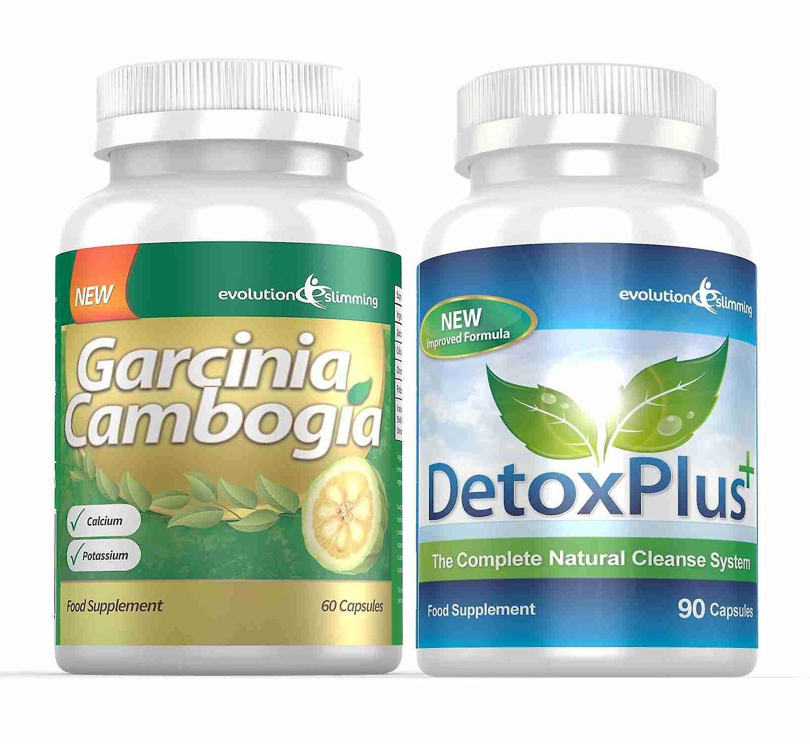 Garcinia Cambogia Cleanse Combo 1000mg 60% HCA with Potassium and Calcium - 1 Month Supply - Appetite Control and Colon Cleanse - Evolution Slimming