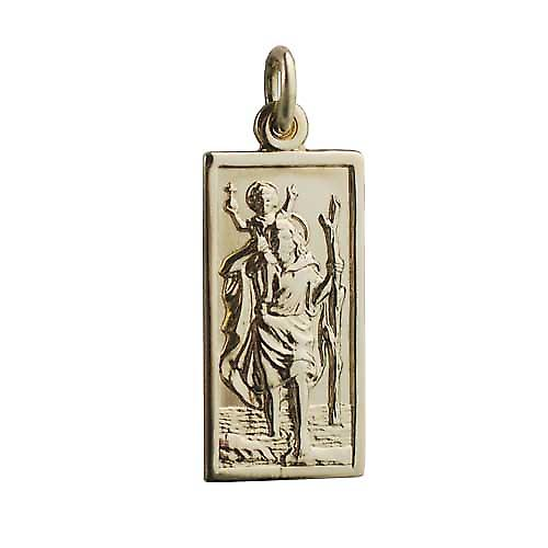 18ct Gold 26x13mm rectangular St Christopher Pendant