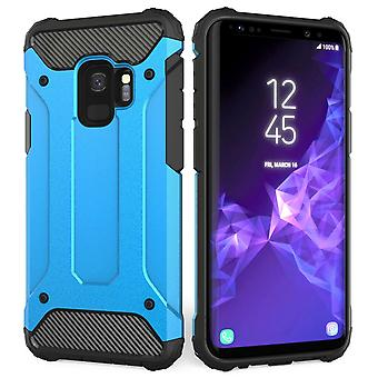 Samsung Galaxy S9 Armoured Shockproof Carbon Case - Sky Blue