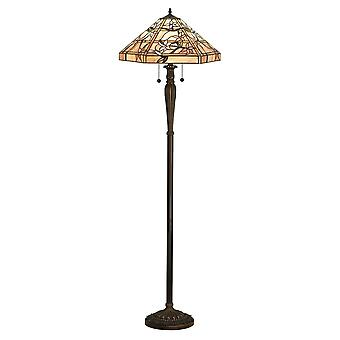 Interiors 1900 64018 Clematis 2 Light Tiffany Glass Floor Lamp In Bron
