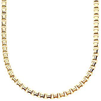 Iced out bling vierkant vak chain - 4mm goud - 90cm