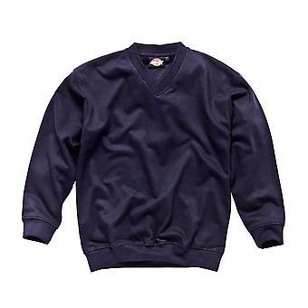 Dickies Mens Workwear V Neck Sweatshirt Navy Blue SH11150N