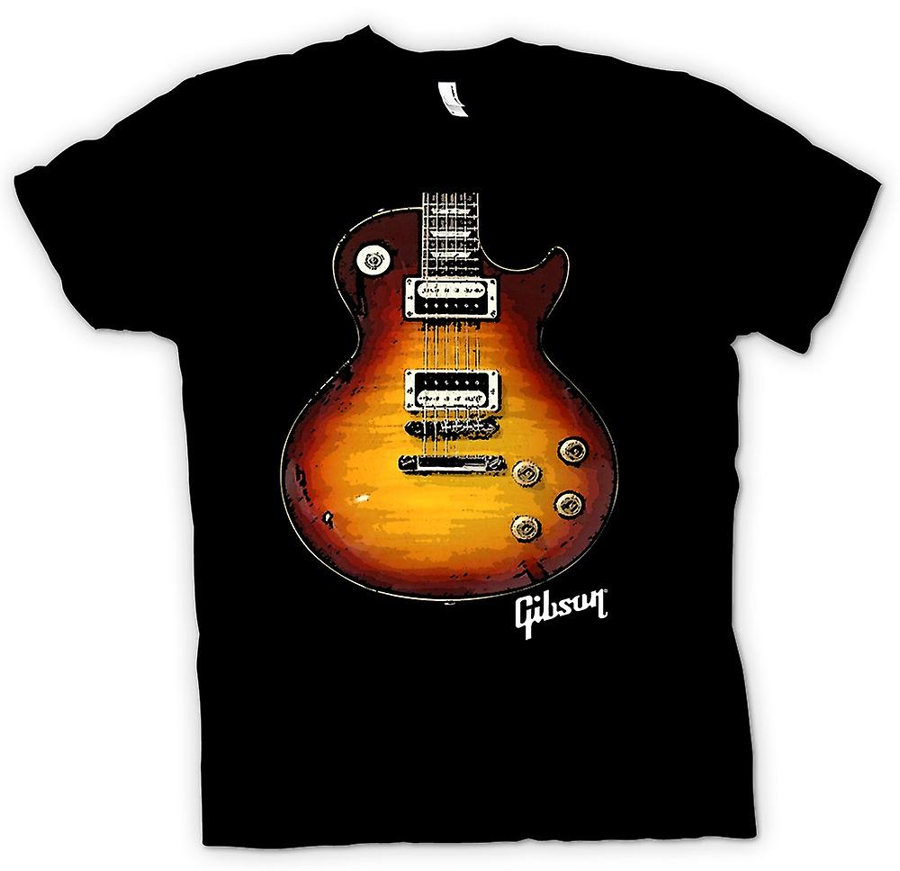 Mens T-shirt - Gibson Les Paul Guitar Gold - Music