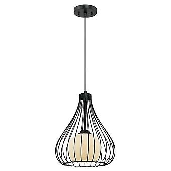 Westinghouse One-Light Pendant matte black with metal cage and frosted glass
