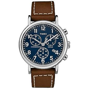 Timex Mens Weekender Chronograph Brown Leather Strap TW2R42600D7 Watch