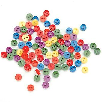 Dress It Up Embellishments-Tiny Round Buttons - Primary