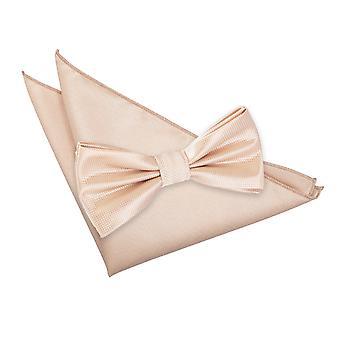 Check tinta Champagne Bow Tie & Set Square Pocket