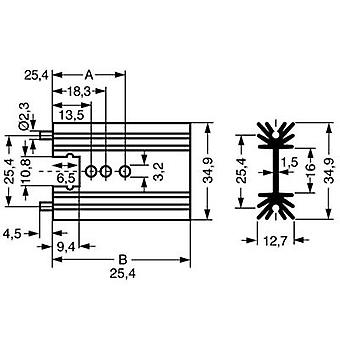 Pin heat sink 11 C/W (L x W x H) 38.1 x 34.9 x 12.7 mm TO 220, SOT 32 Fischer Elektronik SK 104 38,1 STS