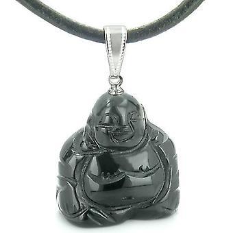 Good Luck Charm Happy Sitting Buddha Amulet Black Onyx Gemstone Spiritual Powers Pendant Necklace