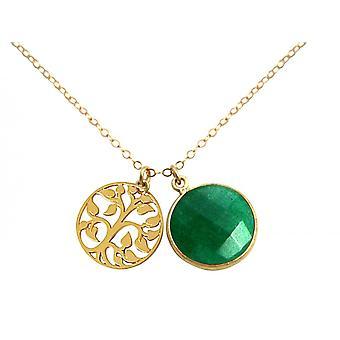 Gemshine Halskette Anhänger LEBENSBAUM 925 Silber Vergoldet Smaragd Grün