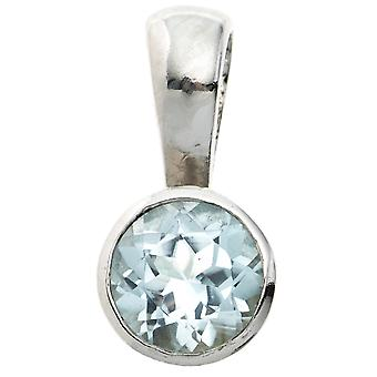 Blue Topaz Blautopaz pendant 925 sterling silver rhodium plated 1 Blue Topaz