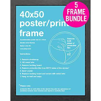 GB Posters 5 Black Mini Poster Frames 40x50cm Bundle