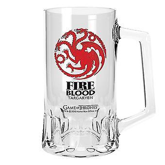 Game of Thrones Glas-Bierkrug Targaryen Logo transparent, aus Glas, Fassungsvermögen ca. 500 ml.