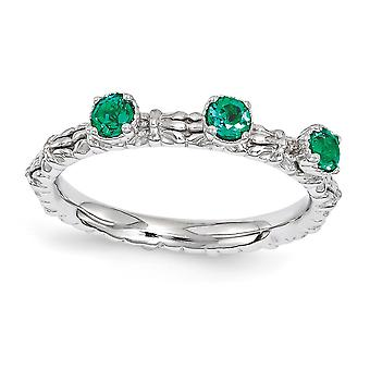 2.5mm 925 Sterling Silver Polished Prong set Rhodium-plated Stackable Expressions Created Emerald Three Stone Ring - Rin