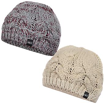 adidas NEO Womens Ladies Chunky Cable Knit Warm Beret Beanie Hat - One Size