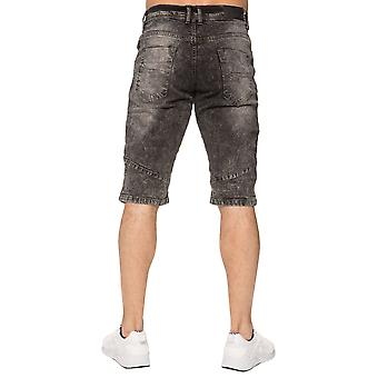 Mens Denim Biker Jeans Summer Short noir | Menswear Designer Enzo