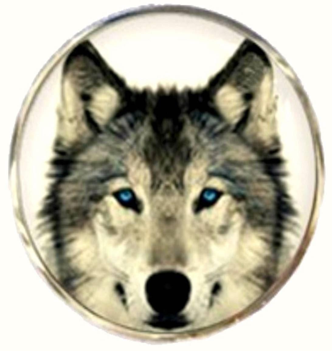 Bassin and Brown Round Arctic Wolf Cufflinks - White