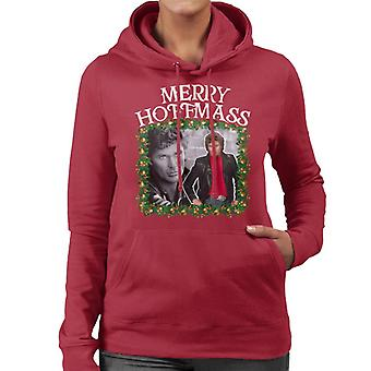 David Hasselhoff Merry Hoffmass Montage Women's Hooded Sweatshirt