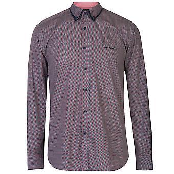Pierre Cardin Mens Long Sleeve Printed Shirt Casual Regular Fit Print