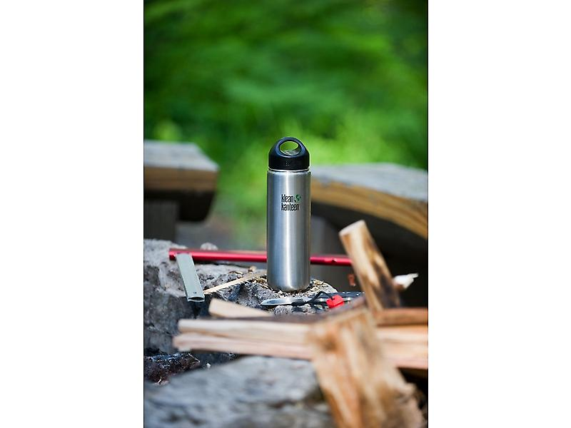 Klean Kanteen Wide Mouth 800ml Bottle with Stainless Loop Cap (Brush Stainless)