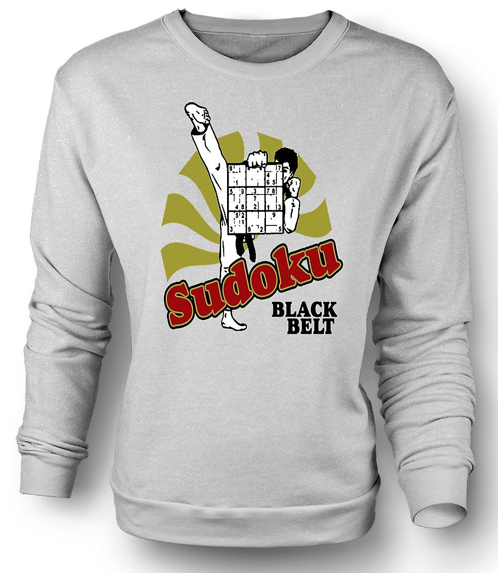 Mens Sweatshirt Sudoku Black Belt Karate - Funny
