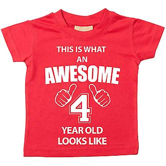 This is What An Awesome 4 Year Old Looks Like Red Tshirt