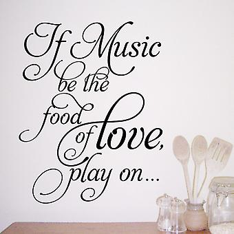 Food of love wall quote sticker