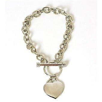 The Olivia Collection Women's Silvertone T-Bar Bracelet & Heart Charm