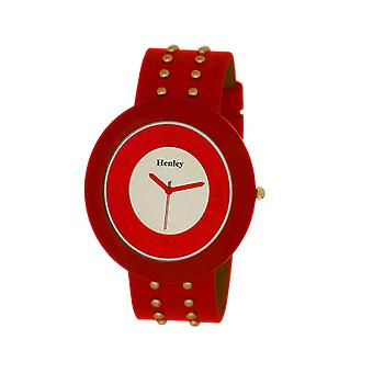 Henley Glamour Ladies Red Mirror, Studded Watch