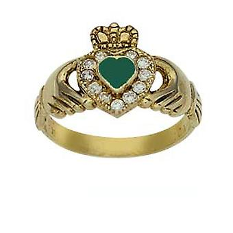 9ct Gold 13mm Green Agate & CZ set ladies Claddagh Ring Size J