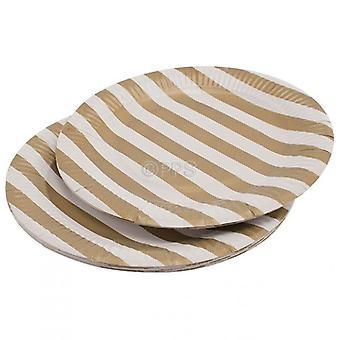 Pakke 20 plater papir gull stripete 23cm Diameter