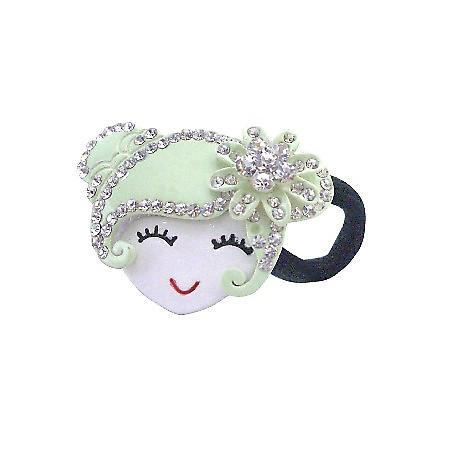 Prom Hair Rubber Band Of Lite Green Metal Doll Fully Decorated