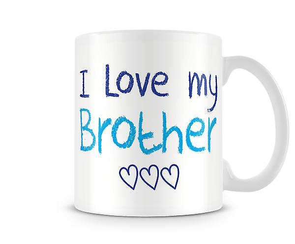 Decorative Writing I Love My Brother Blue Writing Printed Text Mug