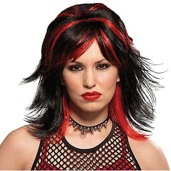 Wig For Rocker Unisex Black/Red