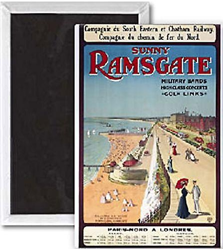 Sunny Ramsgate (old rail ad.) steel fridge magnet  (se portrait)