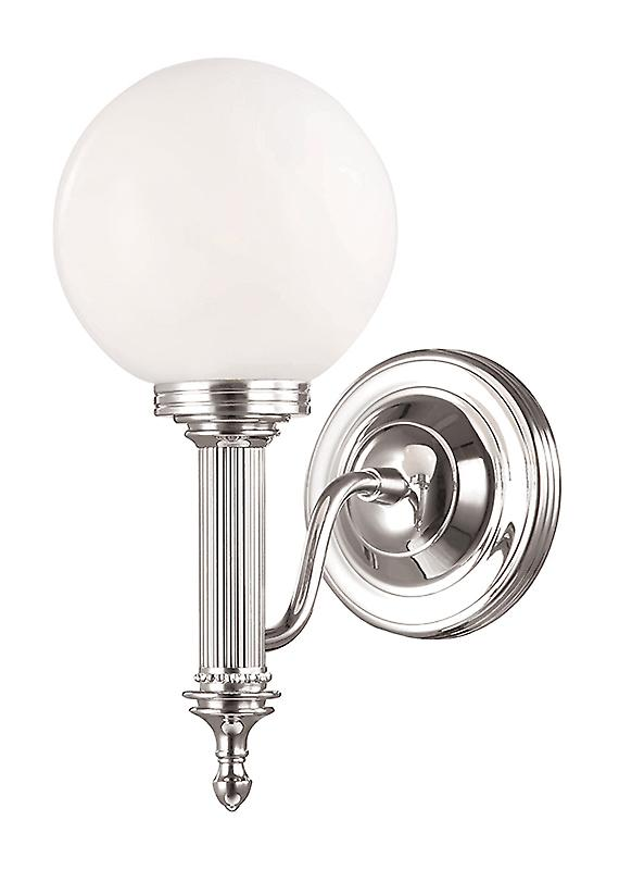 Elstead BATH/CARROLL4 PN Carroll Nickel Bathroom Wall Light with a Glass Sphere