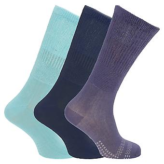 Womens/Ladies Bamboo Non-Binding Extra Wide Diabetic Socks (3 Pairs)