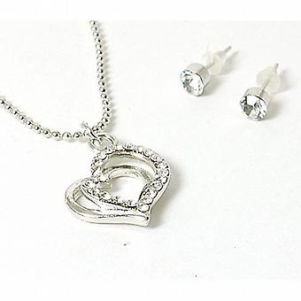 The Olivia Collection Rhinestone Set Double Heart Necklace & Stud Earring Set