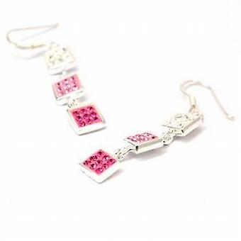 The Olivia Collection Sterling Silver Triology Pink Crystal Drop Earrings