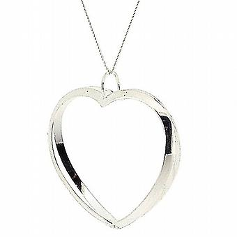 TOC Sterling Silver Open Cut Out Heart Pendant on 18 Inch Chain