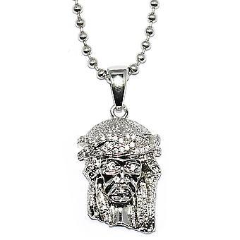 Micro Jesus Piece hängendes Silber überzogene mit 30-Zoll-Kugelkette
