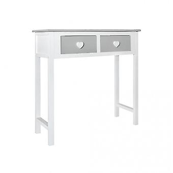Rebecca Furniture Console table white Grey 2 drawers shape knobs Heart Salon Room