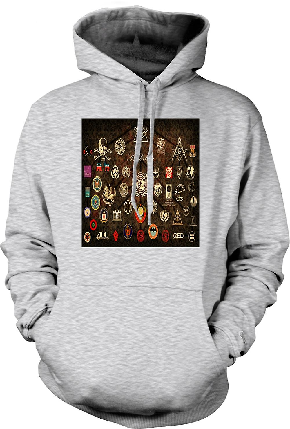 Mens Hoodie - Conspiracy Collage - Bildenberg , NSA, BG
