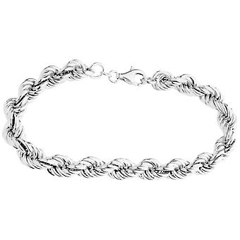 Sterling 925 Silver Cord Bracelet - HOLLOW ROPE 8mm