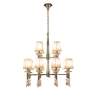 Mantra M3850FG Tiffany Pendant 2 Tier 12+12 Light E14+G9, French Gold With Soft Bronze Shades & Clear Crystal
