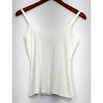 Susan Graver Camisole Liquid Knit Scoop Neck Adjustable Straps White A274526
