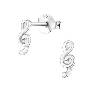 Music clef - 925 Sterling Silver Plain Ear Studs - W18395X