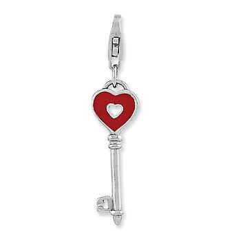 925 Sterling Silver Fancy Lobster Closure Rhodium-plaqué Enameled Heart Key With Lobster Clasp Charm 925 Sterling Silver Fancy Lobster Closure Rhodium-plaqué Enameled Heart Key With Lobster Clasp Charm