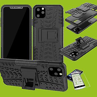 Für Apple iPhone 11 Pro 5.8 Zoll Hybrid Case 2teilig Schwarz + Hartglas Tasche Hülle Cover Hülle