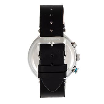 Breed Tempest Chronograph Leather-Band Watch w/Date - Black/Grey